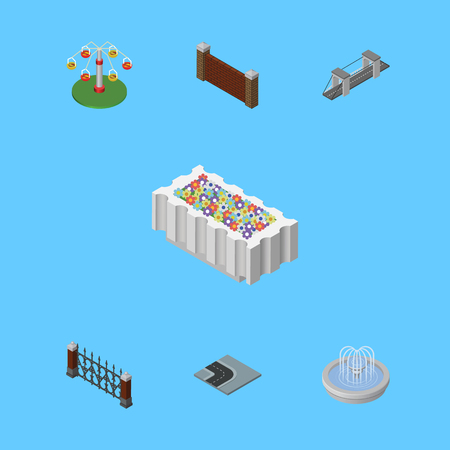 Isometric Street Set Of Fence, Park Decoration, Barrier And Other Vector Objects. Also Includes Metal, Flower, Water Elements. Illustration