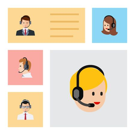 narrator: Flat Telemarketing Set Of Call Center, Service, Hotline And Other Vector Objects. Also Includes Human, Secretary, Center Elements.