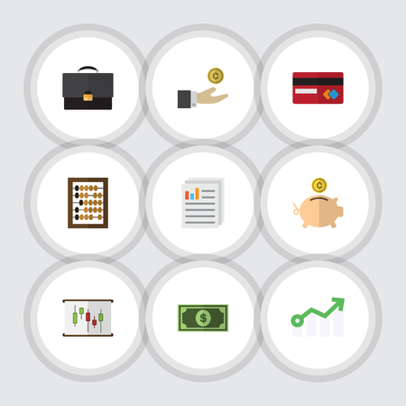Flat Gain Set Of Document, Greenback, Diagram And Other Vector Objects. Also Includes Coin, Greenback, File Elements.