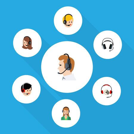 Flat Call Set Of Earphone, Operator, Secretary And Other Vector Objects. Also Includes Support, Operator, Online Elements.
