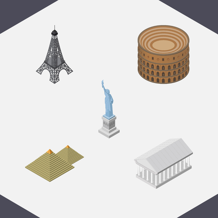 Isometric Travel Set Of New York, Egypt, Coliseum And Other Vector Objects. Also Includes Tower, America, Egypt Elements.