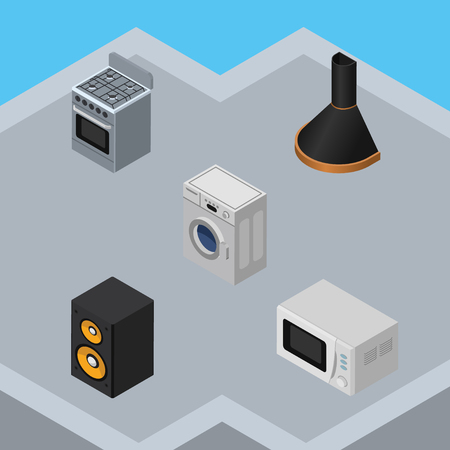 defrost: Isometric Device Set Of Air Extractor, Music Box, Microwave And Other Vector Objects. Also Includes Microwave, Machine, Box Elements.