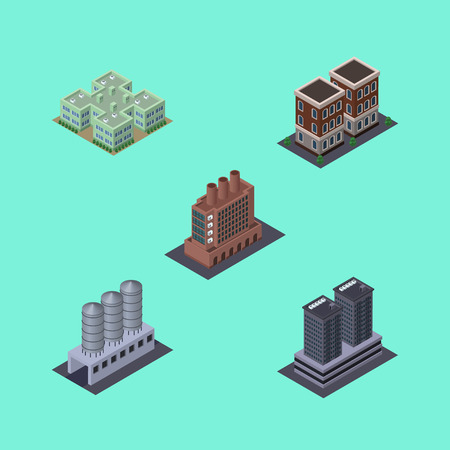Isometric Architecture Set Of House, Industry, Tower And Other Vector Objects. Also Includes Home, Firm, Skyscraper Elements.