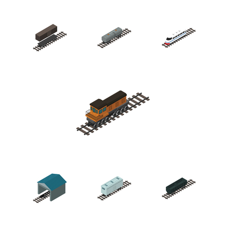 depot: Isometric Railway Set Of Carbon Railway Container, Depot, Delivery Tank And Other Vector Objects. Also Includes Container, Tank, Wagon Elements. Illustration