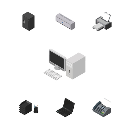 Isometric Work Set Of Strongbox, Wall Cooler, Laptop And Other Vector Objects. Also Includes Laptop, Tray, Printer Elements.
