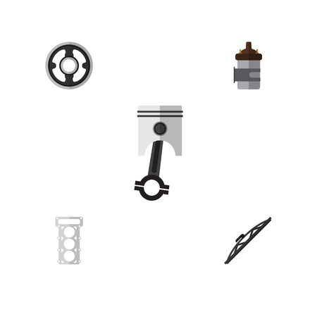 conrod: Flat Parts Set Of Belt, Conrod, Windshield And Other Vector Objects. Also Includes Packing, Car, Pulley Elements. Illustration