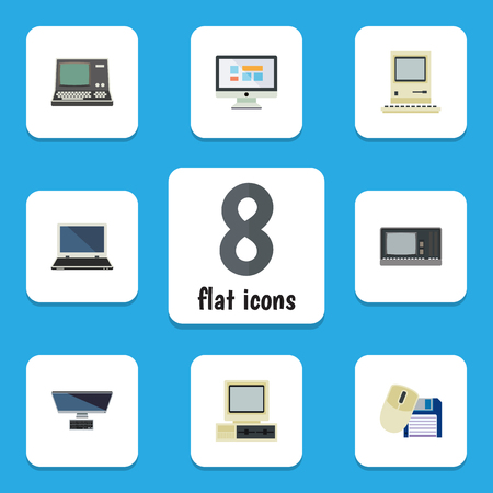 computerized: Flat Notebook Set Of Computing, Technology, PC And Other Vector Objects. Also Includes Display, Computer, Personal Elements. Illustration