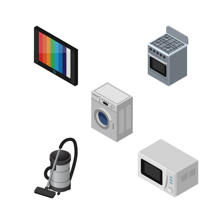 vac: Isometric Appliance Set Of Laundry, Vac, Stove And Other Vector Objects. Also Includes Tv, Cleaner, Device Elements. Illustration
