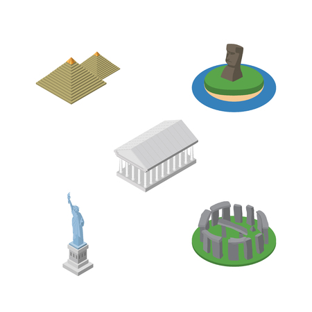 Isometric Attraction Set Of England, New York, Chile Vector Objects. Also Includes Chile, America, Stonehenge Elements. Illustration
