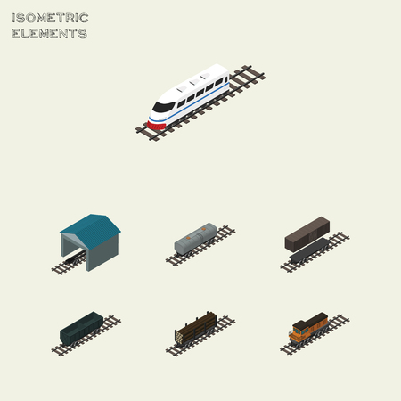 Isometric Transport Set Of Carbon Railway Container, Underground, Oil Wagon And Other Vector Objects. Also Includes Underground, Petroleum, Stop Elements.