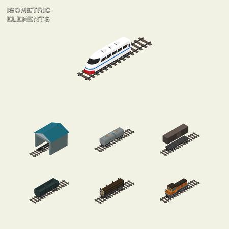 Isometrische transportset van Carbon Railway Container, Underground, Oil Wagon en andere vectorobjecten. Bevat ook Underground, Petroleum, Stop Elements.