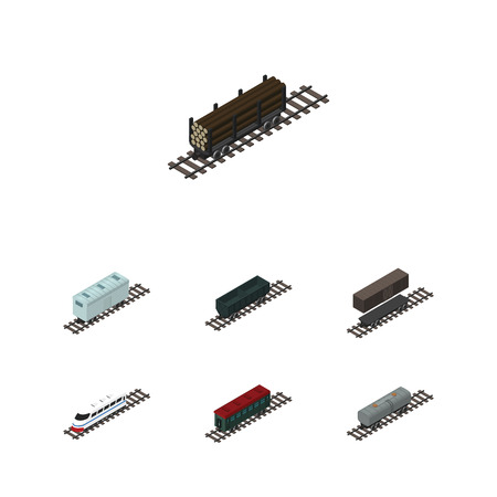 Isometric Wagon Set Of Carbon Railway Container, Oil Wagon, Subway Vehicle And Other Vector Objects. Also Includes Tank, Carriage, Container Elements. Illustration