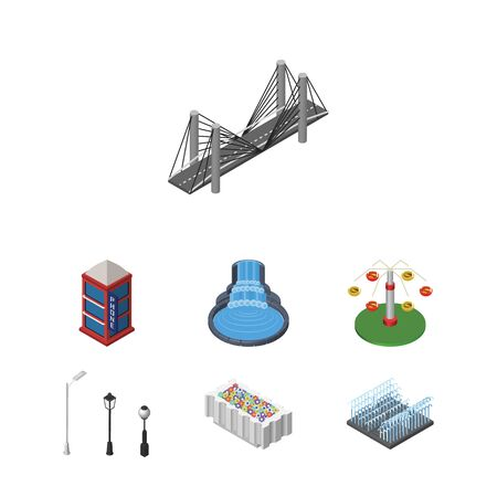 granite: Isometric Architecture Set Of Flower Decoration, Bridge, Swing Attraction And Other Vector Objects. Also Includes Decoration, Telephone, Lights Elements.
