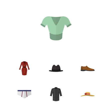 Flat Garment Set Of Uniform, Elegant Headgear, Panama And Other Vector Objects. Also Includes Uniform, Fedora, Underclothes Elements.