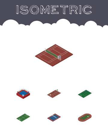 ko: Isometric Sport Set Of Volleyball, Fighting, Soccer And Other Vector Objects. Also Includes Field, Playground, Fighting Elements. Illustration