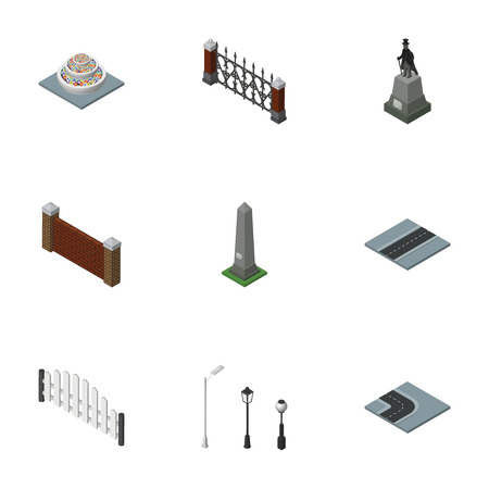 obelisk stone: Isometric Urban Set Of Barricade, Sculpture, Fence And Other Vector Objects. Also Includes Decoration, Washington, Fence Elements. Illustration
