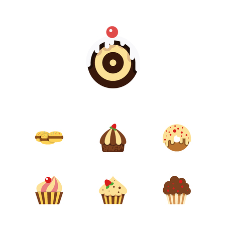 Flat Dessert; Set Of Confectionery, Biscuit, Cupcake And Other Vector Objects. Also Includes Biscuit, Cake, Dessert Elements.