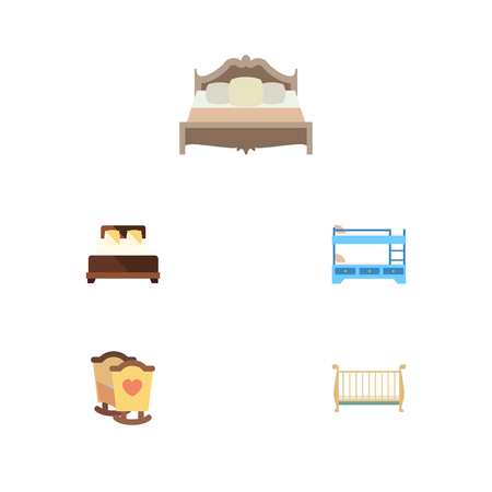 bunk bed: Flat  Set Of Bunk Bed, Cot, Crib And Other Vector Objects. Also Includes Bedroom, Double, Crib Elements. Illustration