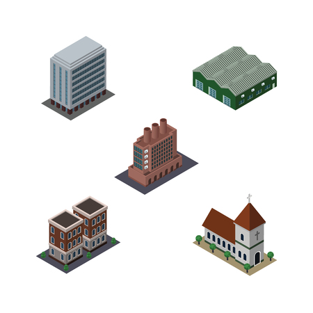 hangar: Isometric Urban Set Of House, Office, Chapel And Other Vector Objects. Also Includes Industry, Church, Firm Elements.