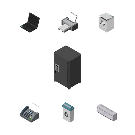 Isometric Office Set Of Strongbox, Printing Machine, Laptop And Other Vector Objects. Also Includes Laptop, Scanner, Safe Elements.