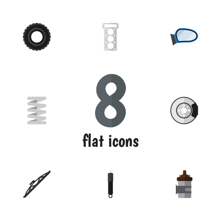 axles: Flat Component Set Of Wheel, Windshield, Crankshaft And Other Vector Objects. Also Includes Auto, Metal, Engine Elements. Illustration