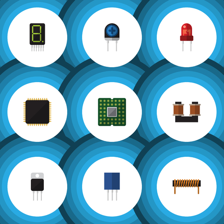 Flat Technology Set Of Receiver, Bobbin, Cpu And Other Vector Objects. Also Includes Transducer, Receiver, Receptacle Elements.