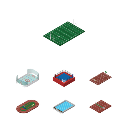 game of pool: Isometric Competition Set Of Fighting, Volleyball, Basin And Other Vector Objects. Also Includes Boxing, Basketball, Basin Elements.