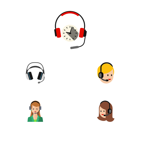 earpiece: Flat Call Set Of Secretary, Earphone, Call Center And Other Vector Objects. Also Includes Earphone, Center, Headset Elements. Illustration
