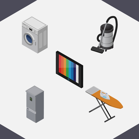 vac: Isometric Technology Set Of Vac, Television, Cloth Iron And Other Vector Objects. Also Includes Cloth, Laundry, Fridge Elements.
