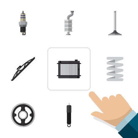 timing belt: Flat Component Set Of Car Segment, Silencer, Crankshaft And Other Vector Objects. Also Includes Absorber, Plug, Spring Elements.