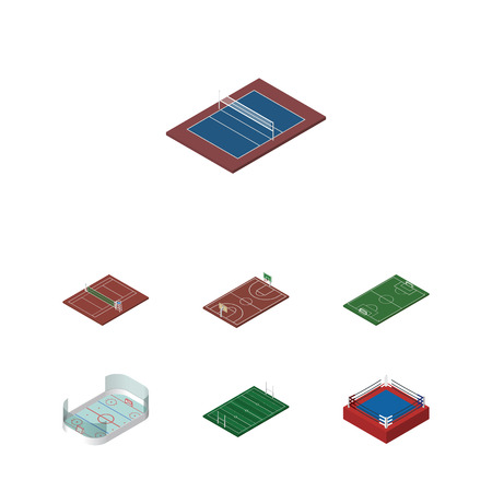 ko: Isometric Competition Set Of Ice Games, American Football, Volleyball And Other Vector Objects. Also Includes Stadium, Tennis, Hockey Elements.