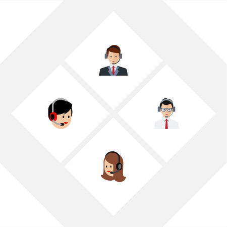Flat Telemarketing Set Of Help, Operator, Hotline And Other Vector Objects. Also Includes Service, Secretary, Help Elements.