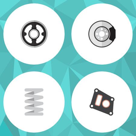 axles: Flat Component Set Of Metal, Crankshaft, Belt And Other Vector Objects. Also Includes Belt, Packing, Crankshaft Elements. Illustration