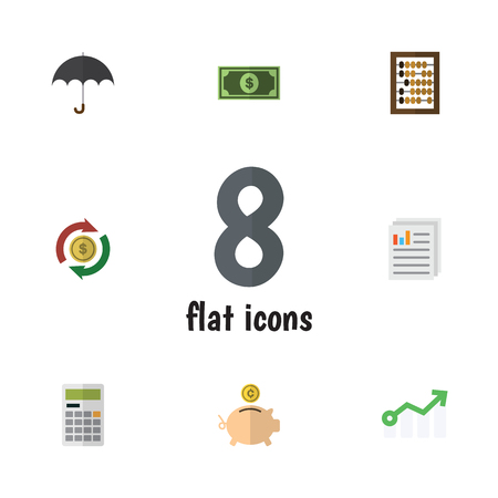 Flat Gain Set Of Document, Interchange, Growth And Other Vector Objects. Also Includes Counter, Paper, Parasol Elements. Ilustração