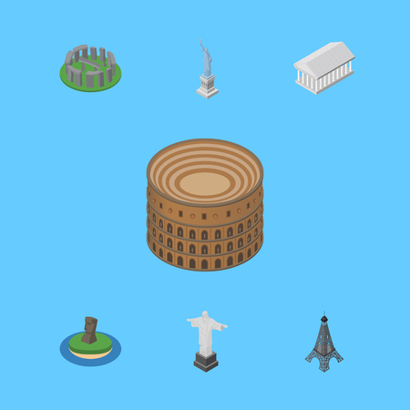 Isometric Attraction Set Of Paris, Coliseum, Rio And Other Vector Objects. Also Includes Christ, America, Paris Elements.