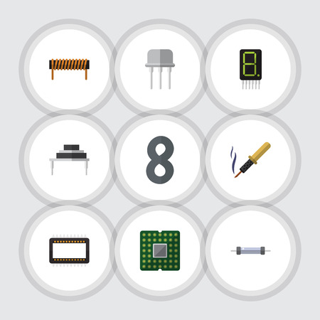 spare: Flat Appliance Set Of Destination, Bobbin, Resistor And Other Vector Objects. Also Includes Electronics, Calculate, Copper Elements. Illustration