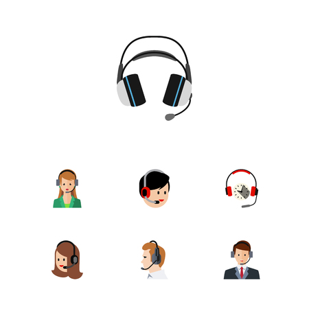 Flat Call Set Of Earphone, Secretary, Telemarketing And Other Vector Objects. Also Includes Headphone, Service, Human Elements. Illustration