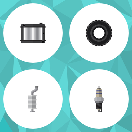 axles: Flat Auto Set Of Heater, Silencer, Wheel And Other Vector Objects. Also Includes Wheel, Thermostat, Car Elements. Illustration