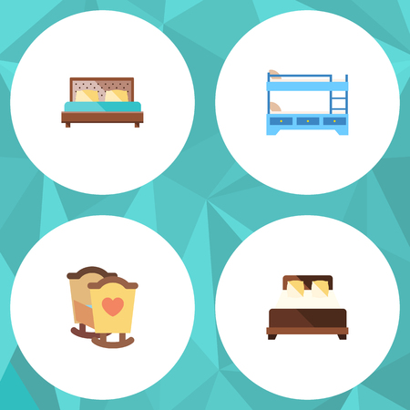 bunk bed: Flat Mattress Set Of Bunk Bed, Mattress, Crib And Other Vector Objects. Also Includes Bed, Bunk, Bedroom Elements.