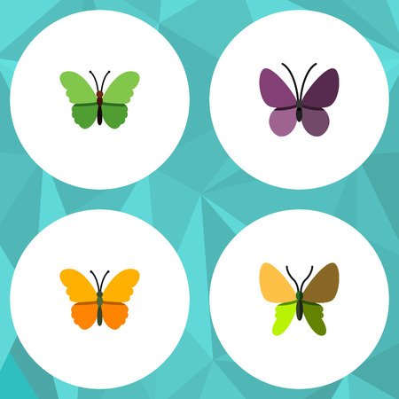 plexippus: Flat Monarch Set Of Violet Wing, Milkweed, Beauty Fly And Other Vector Objects. Also Includes Monarch, Summer, Milkweed Elements.