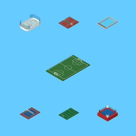 Isometric Competition Set Of Basin, Tennis, Ice Games And Other Vector Objects. Also Includes Hockey, Swimming, Tennis Elements.