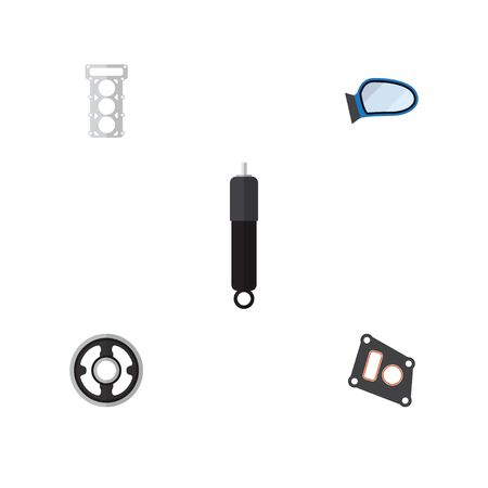 gasket: Flat Auto Set Of Auto Component, Packing, Belt And Other Vector Objects. Also Includes Absorber, Gasket, Wing Elements.