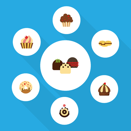 Flat Dessert; Set Of Pastry, Biscuit, Sweetmeat And Other Vector Objects. Also Includes Shortcake, Dessert, Cake Elements.