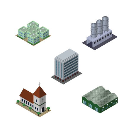 steeple: Isometric Architecture Set Of Warehouse, Water Storage, Chapel And Other Vector Objects. Also Includes Storage, House, Chapel Elements.