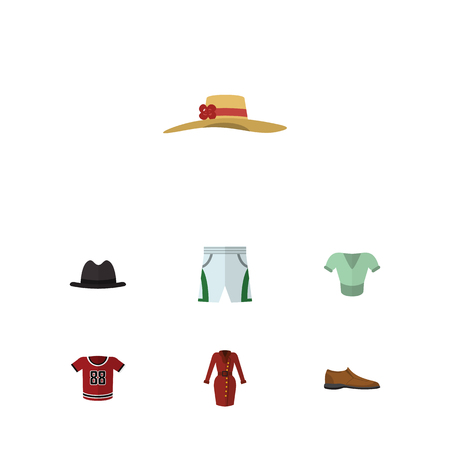 Flat Clothes Set Of Casual, Elegant Headgear, Panama And Other Vector Objects. Also Includes Headgear, Shorts, Fedora Elements.