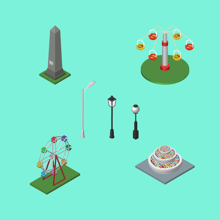 Isometric Urban Set Of Swing Attraction, Recreation, Plants And Other Vector Objects. Also Includes Flowers, Plants, Ferris Elements. Illustration