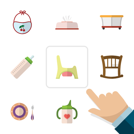 baby toilet seat: Flat Child Set Of Playground, Baby Plate, Nursing Bottle And Other Vector Objects. Also Includes Child, Cot, Plate Elements.