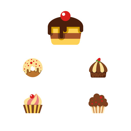 Flat Dessert; Set Of Doughnut, Dessert, Muffin And Other Vector Objects. Also Includes Pastry, Dessert, Cupcake Elements. Illustration