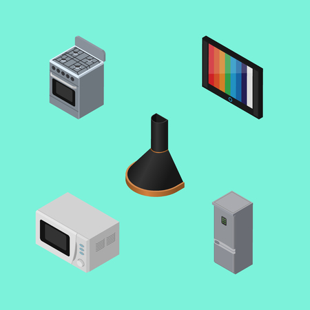 Isometric Appliance Set Of Air Extractor, Television, Kitchen Fridge And  Other Vector Objects.