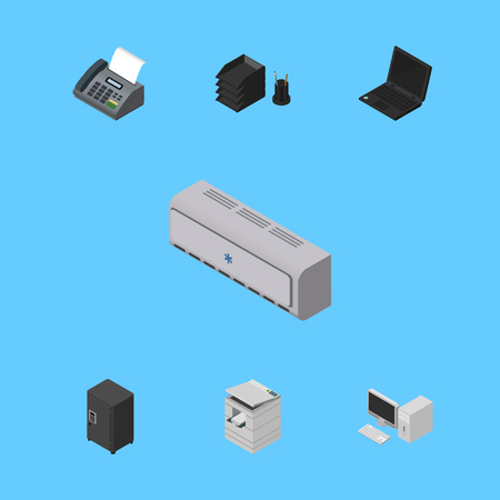Isometric Business Set Of Strongbox, Desk File Rack, Office Phone And Other Vector Objects. Also Includes Photocopier, Strongbox, PC Elements.